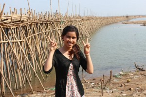 Vanna, a teacher to help you learn khmer is by a bamboo bridge in sihanoukville