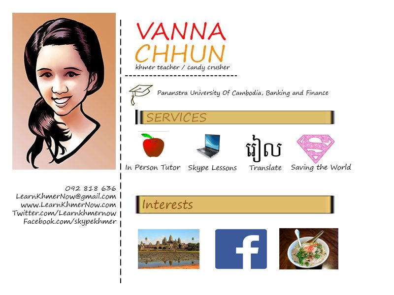 Khmer tutor vanna's infographic that explains what services she offers and what she likes to do
